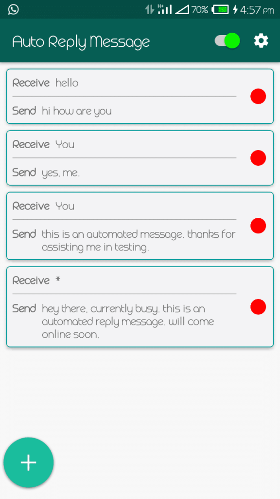 Switch on Auto reply messages in gb whatsapp